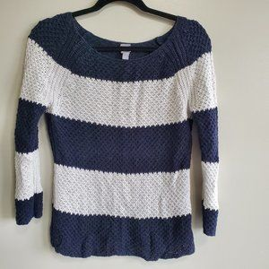 3/$10  JCP White and Blue Stripe Knitted Sweater M